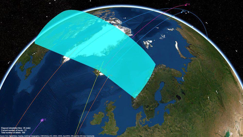 地球を周回するスペースデブリを追跡するレーダーシステム。