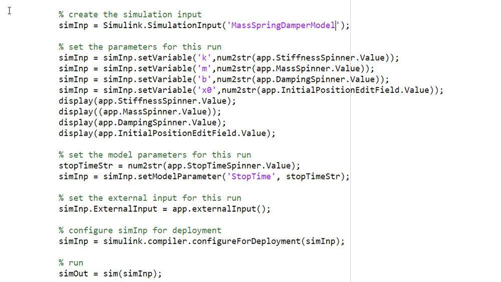 SimulationInput オブジェクトを使用して、シミュレーションの入力とパラメーターを定義。