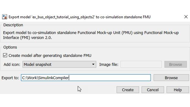 FMU の作成後に自動的に Simulink に戻すオプション。