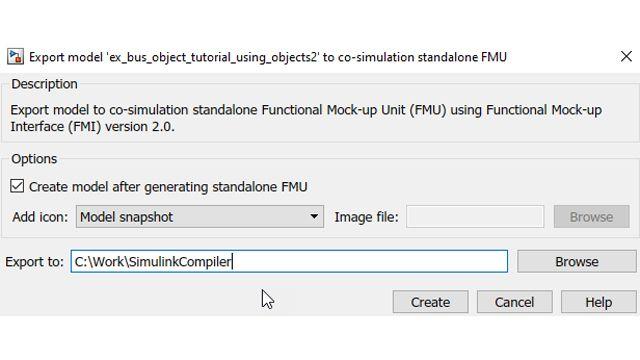 作成後の FMU を自動で Simulink に戻すオプション。