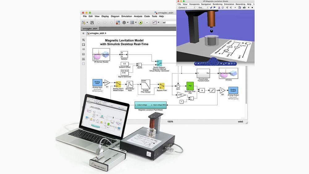 磁気浮上制御実験。このモデルは、Analog Input ブロックと Analog Output ブロックを使用して、外部ハードウェアと接続します。