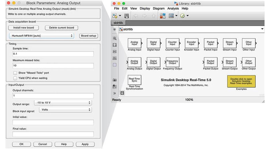 Simulink Desktop Real-Time ブロックライブラリ。