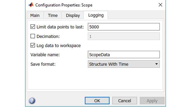 ワークスペースにログを記録するスコープパラメーターを設定します。