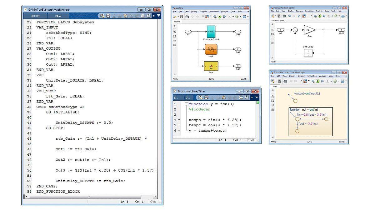 最適化されたストラクチャード テキストの例。Simulink PLC Coder は、Simulink、Stateflow、および MATLAB 関数用に最適化され、かつ高度に統合されたコードを生成します。