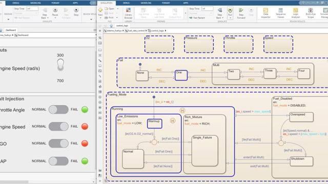 シミュレーションをステップごとに実行し、状態図でデータを監視できます。