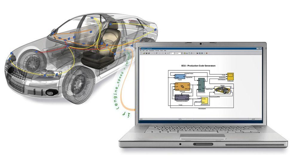 MATAB や Simulink から車両バスデータにアクセスするために使用されているラップトップに接続された自動車。