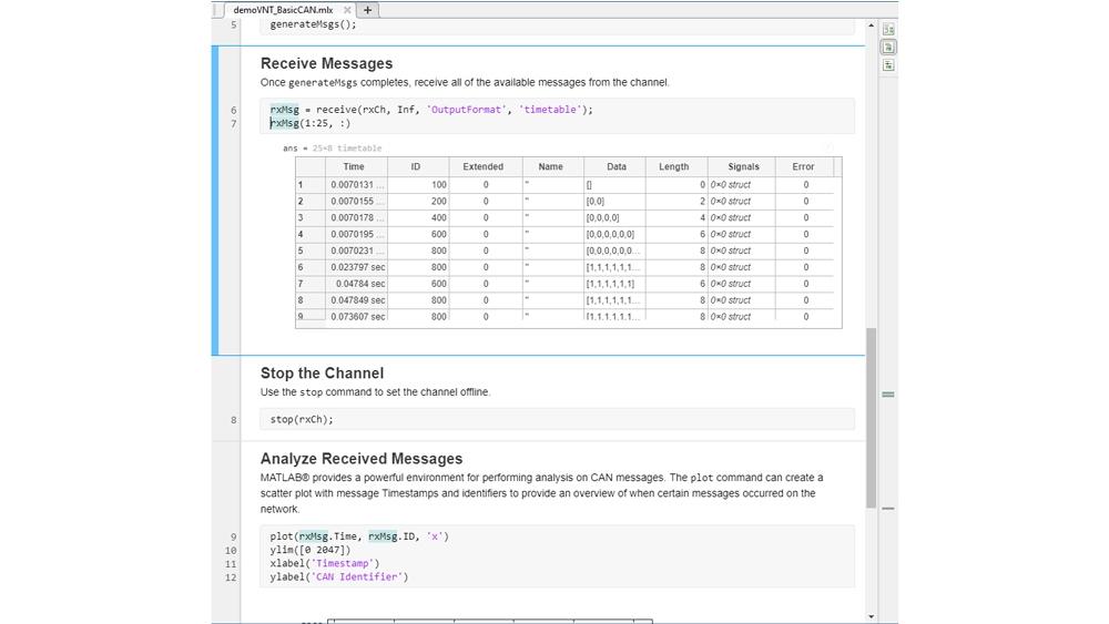CAN メッセージやその信号を timetable 形式で受信するための MATLAB コード。