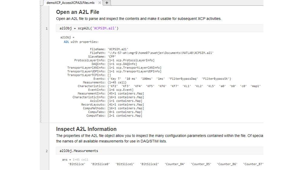 XCP 接続で使用するために A2L ファイルに格納されている情報にアクセスする方法を示すコード例。Vector や Vector の仮想 CAN チャネルから無償提供されている XCP スレーブ シミュレーターが使用されています。