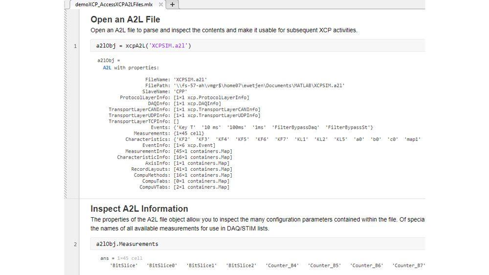 A2L ファイルの解析および検査を行う MATLAB 関数。