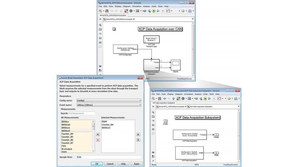XCP データ収集を構成するための Simulink モデルと XCP Data Acquisition ブロックマスクを示す 3 つのウィンドウ。
