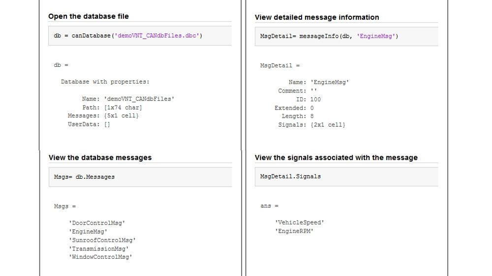 CAN データベースファイルを開き、メッセージや信号を表示する方法を示す 4 つのコードサンプル。