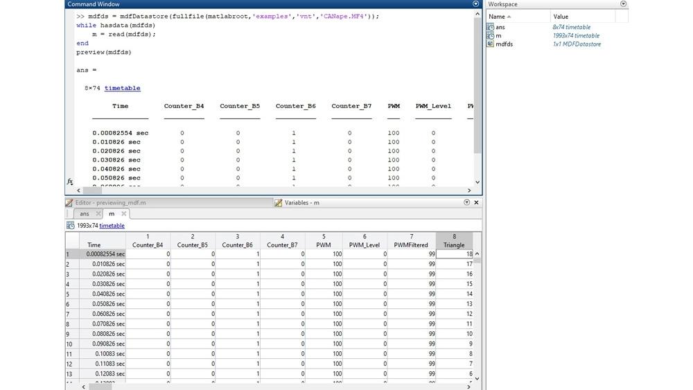 コマンドライン インターフェイスで MDF ファイルをプレビュー後、変数エディターでデータを検査するコードの例。