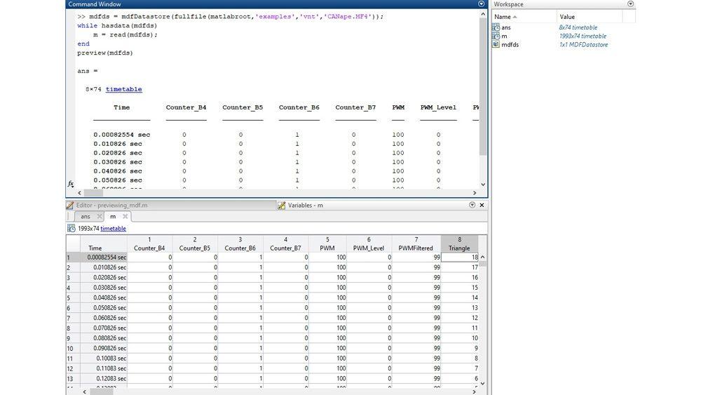 プレビュー関数と変数エディターで MDF ファイルを検査するための MATLAB インターフェイス。