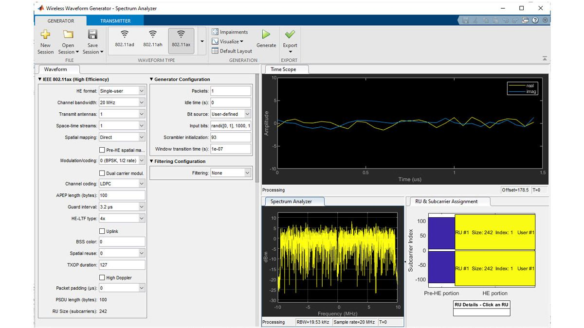 Wireless Waveform Generator アプリを使用した 802.11ax 波形の生成