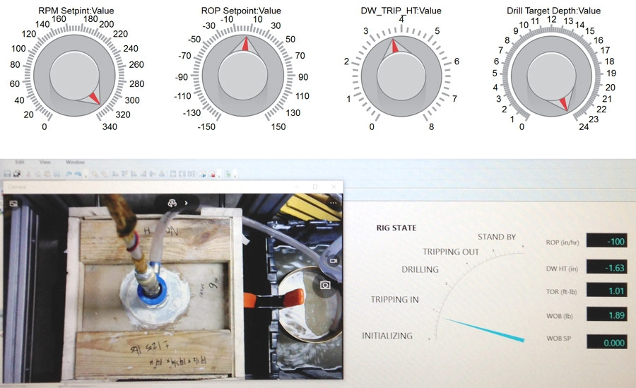 Simulink Real-Time Explorer で作成された掘削状態の可視化と、Simulink で作成された手動制御