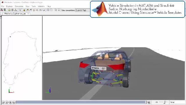 Simscape を使用したレーストラックのシミュレーションを示すアニメーションをご覧ください。