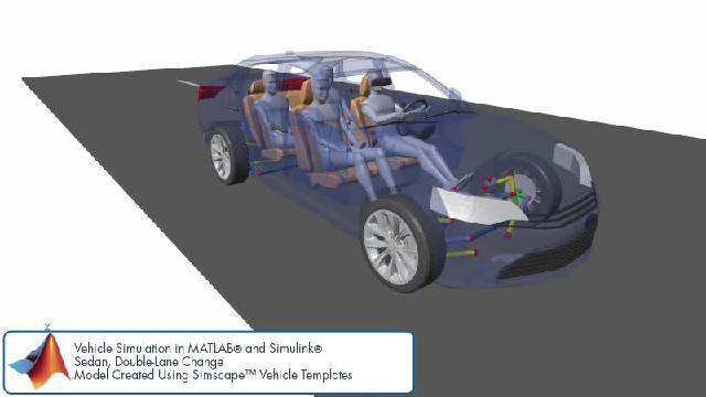 Simscape を使用したダブルレーンチェンジのシミュレーションを示すアニメーションをご覧ください。