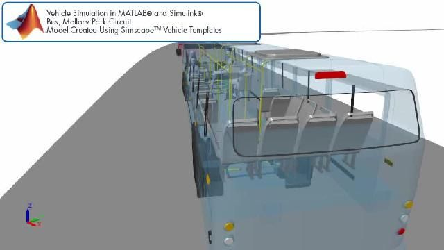 Simscape を使用したレーストラックバスのシミュレーションを示すアニメーションをご覧ください。