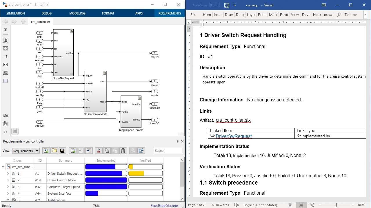 Simulink Requirements のレポートでレビュー用に要件を文書化し、設計、コーディング、およびテキスト出力する要件の属性、ステータス、およびトレーサビリティを含めます。