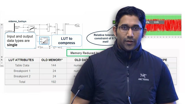 Fixed-Point Designer lets you optimize lookup tables in Simulink and generate highly efficient code with Embedded Coder. The Lookup Table optimizer compresses data into data types that minimize memory use with low impact to numerical accuracy.