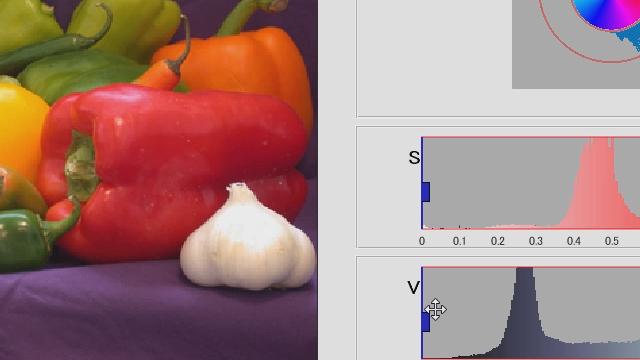 Image Processing Toolbox™で提供される色のしきい値アプリケーションを使用することで、画像内の特定の物体領域に対し、色情報を基に効率よく領域分割を行います。