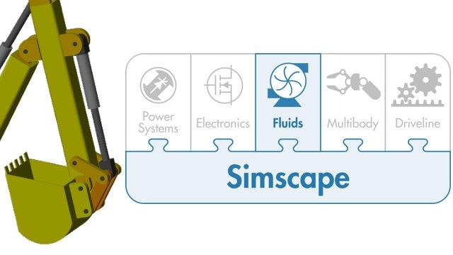 Introduction to Simscape Fluids for fluid power simulation. A backhoe model with hydraulic actuation is used for system-level analysis, control design, and HIL testing.